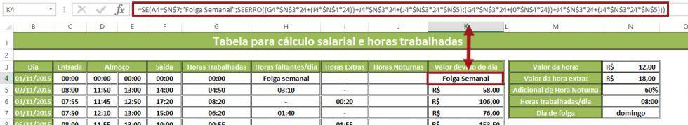 Planilha para o cálculo de horas trabalhadas e salário devido 13.0 no Excel