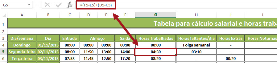 Planilha para o cálculo de horas trabalhadas e salário devido 14.0 no Excel