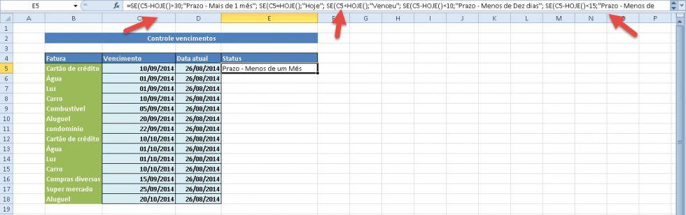 Planilha para controle de datas de vencimento no Excel 4.0