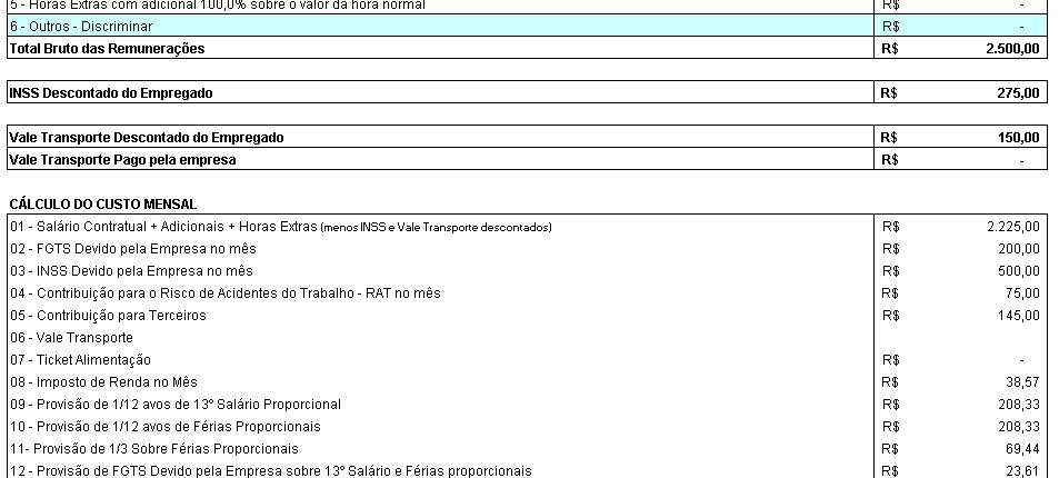 Planilha para cálculo de impostos devidos por funcionário no Excel 3.0