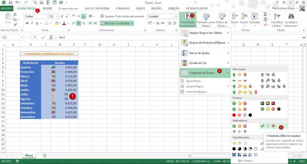 Usando ícones na formatação condicional no Excel