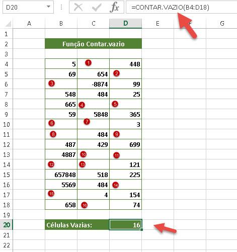 função =Contar.vazio no Excel