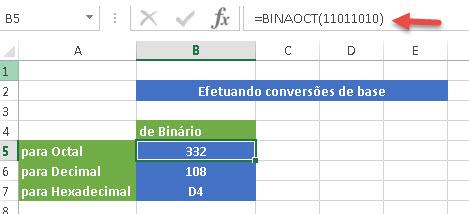 Conversão de bases no Excel