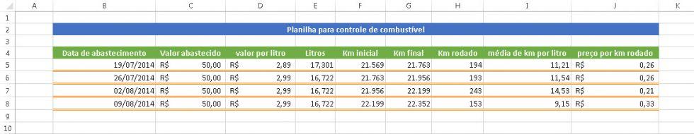 Planilha de controle de combustível no Excel 2.0