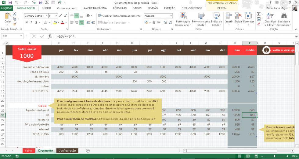 Trabalhando com modelos prontos no Excel