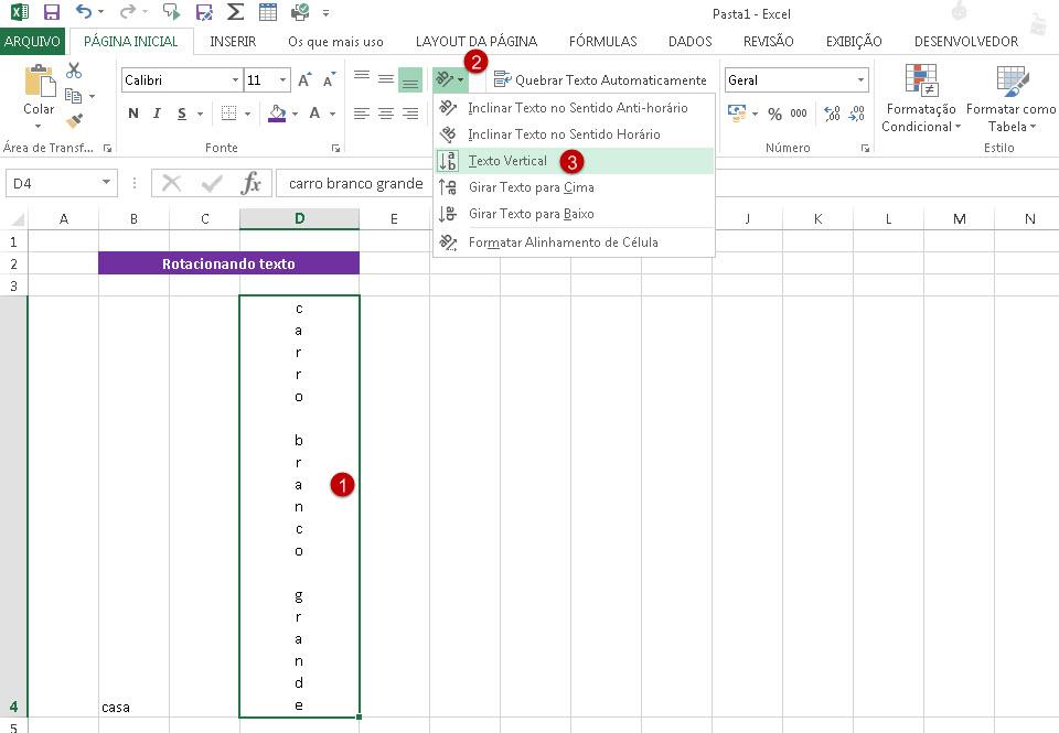Como girar o texto no Excel?