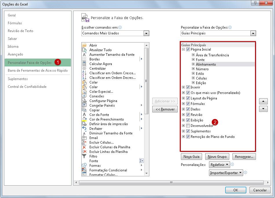 Como inserir a guia 'Desenvolvedor' no Excel