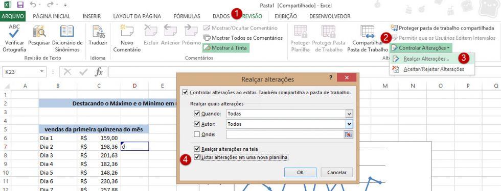 Utilizando o controle de alterações no Excel