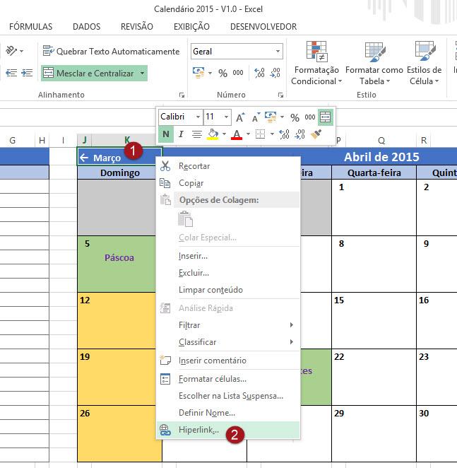 Como linkar planilhas internamente no Excel