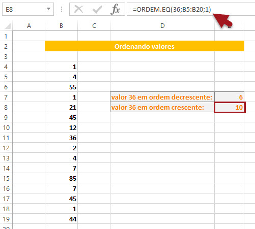 Função =Ordem.eq no Excel