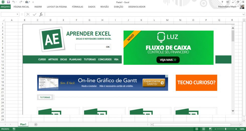 Inserindo um site totalmente funcional em sua planilha no Excel