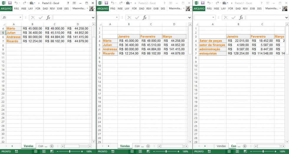 Usando o recurso janela no Excel