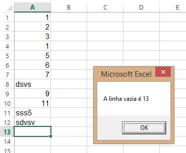 Vba que encontra 'buraco' na planilha no Excel