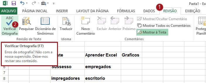 Como revisar texto no Excel