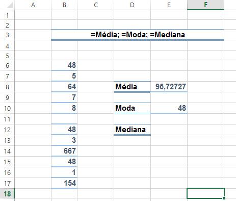 Como calcular média, moda e mediana no Excel =Média, =Moda e =Med