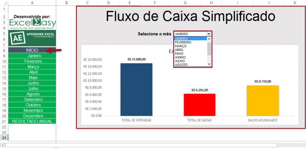 Planilha de fluxo de caixa simplificado no Excel 4.0