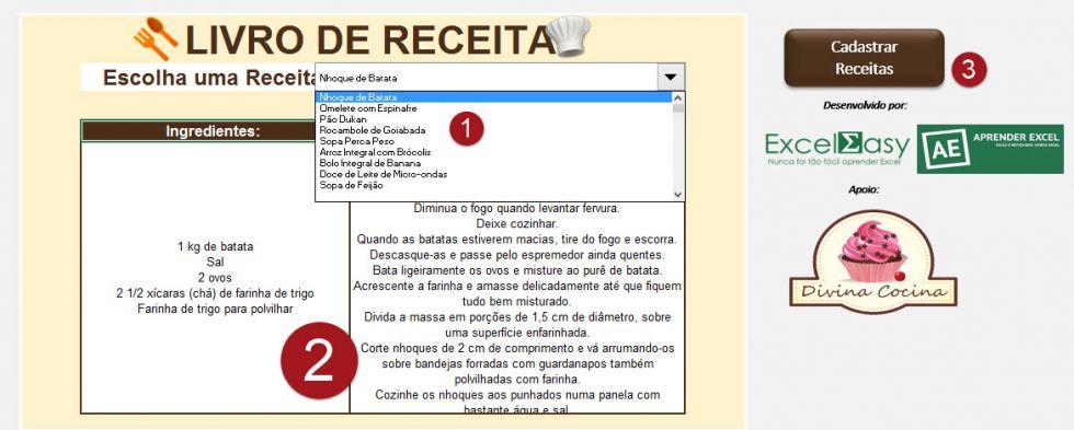 Planilha livro de receitas no Excel 5.0
