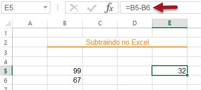 Como subtrair no Excel - subtração