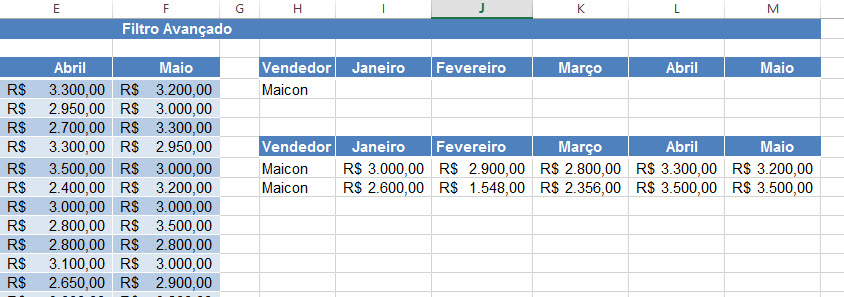 Usando o Filtro Avançado no Excel