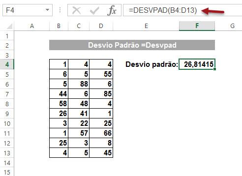 Como calcular o Desvio Padrão no Excel