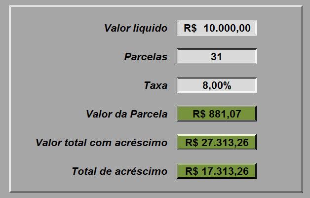Planilha de simulação de financiamento e parcelas no Excel 4.0