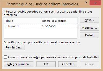 Colocando senha em intervalos específicos no Excel