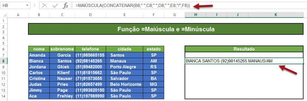 Função =Maiúscula e =Minúscula no Excel