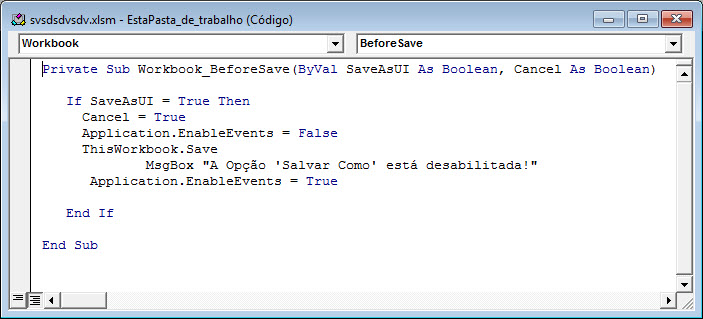 Removendo o 'Salvar como' no Excel