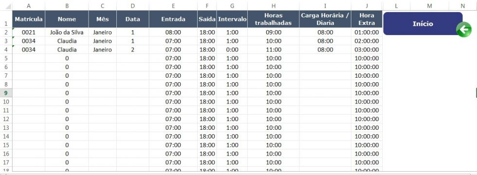 Planilha gratuita de Controle de Horas e Folha de Ponto no Excel 5.0