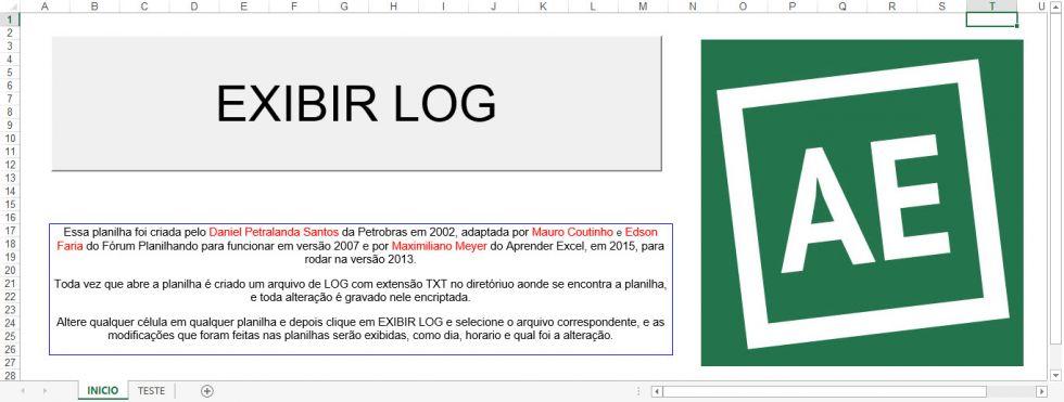 Planilha de logs criptografados no Excel no Excel
