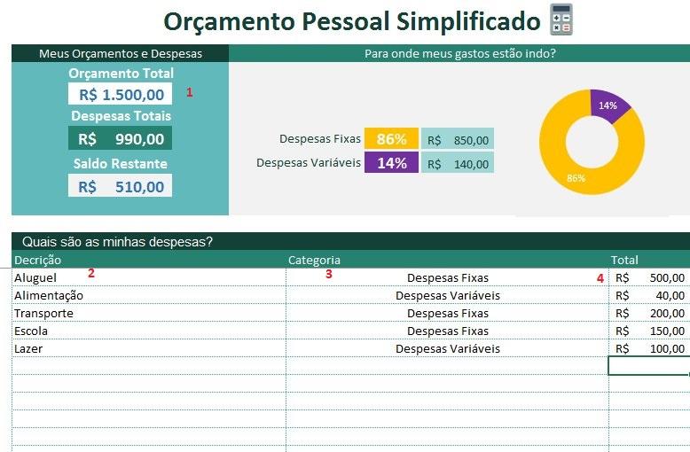 Planilha de Orçamento Pessoal Simplificado no Excel 4.0