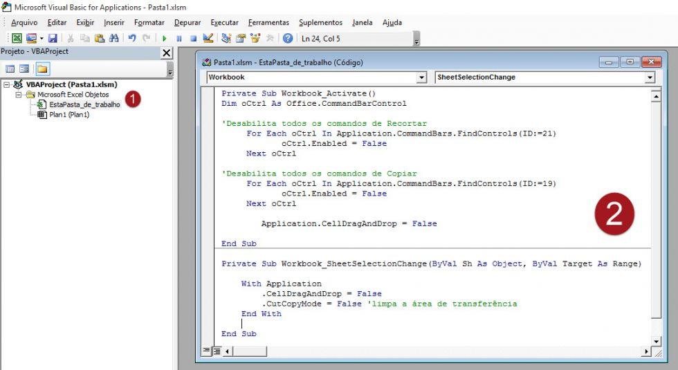 Proibindo o copiar e colar com VBA no Excel
