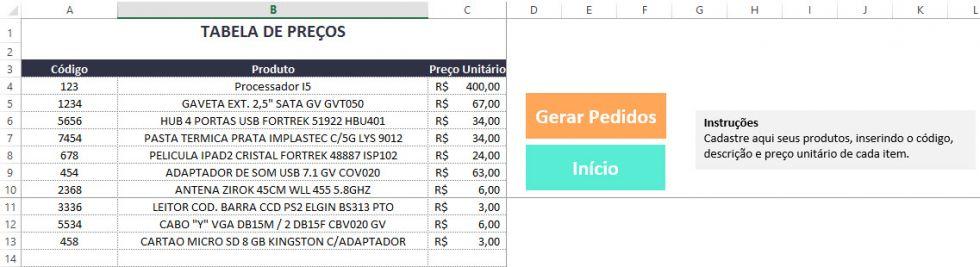 Planilha de Orçamento, pedidos e vendas no Excel 5.0
