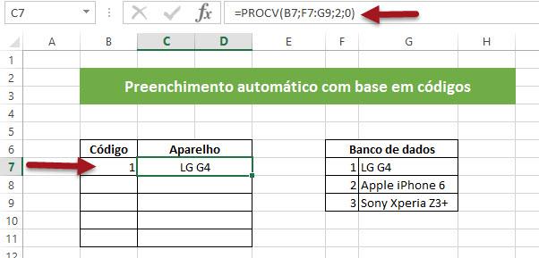Retornando valores listados através de código identificador no Excel