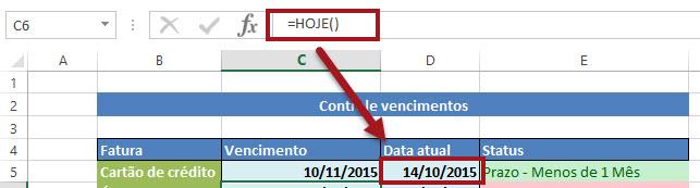 Função =Hoje no Excel