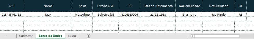 Planilha de cadastro de clientes no Excel v12.0