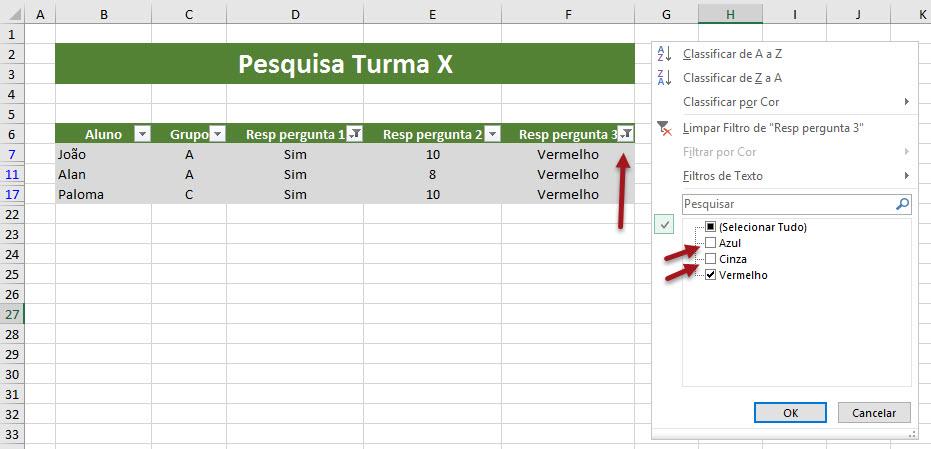 Como criar filtro no Excel