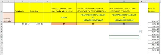 =DiaTrabalhoTotal() e como calcular dias úteis entre datas no Excel