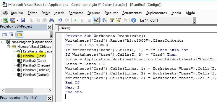 Separando valores em diferentes planilhas com critérios no Excel