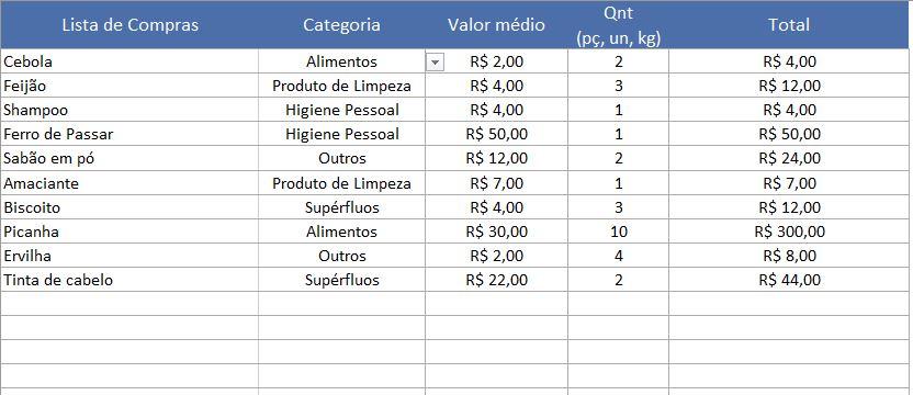 Planilha lista de compras no Excel 5.0