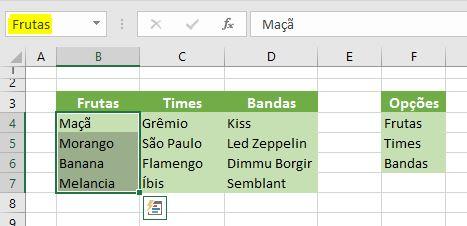 Como fazer um menu dropdown condicional no Excel