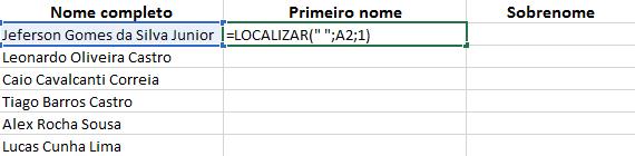 Como separar nome do sobrenome no Excel