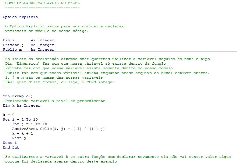 VBA - como declarar variáveis no Excel