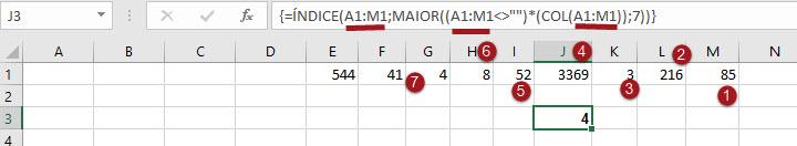 Como retornar o último valor ou qualquer posição da linha ou coluna no Excel
