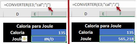 À esquerda a fórmula com erro e à direita a fórmula correta