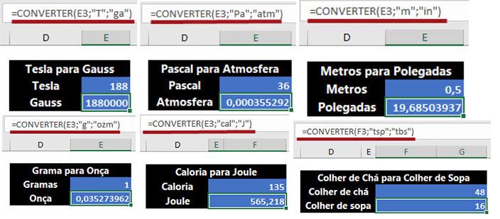 Converta mais de 100 pesos e medidas com a Função =Converter()