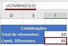 Utilizando =Combin() e =Combina() para calcular as combinações no Excel