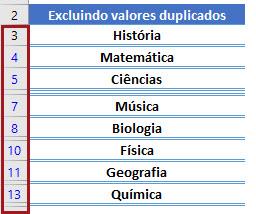 Ocultando linhas com valores repetidos no Excel