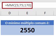 Como calcular MDC e MMC no Excel =MDC() e =MMC()