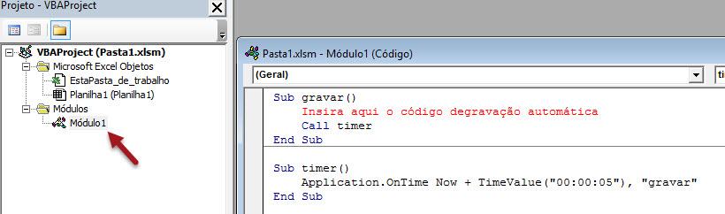 Repetindo ou executando macros em tempo determinado com o recurso .onTime